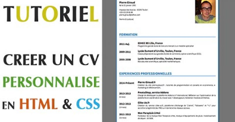 cr u00e9er un cv personnalis u00e9 en html  u0026 css  u2013 build a site info